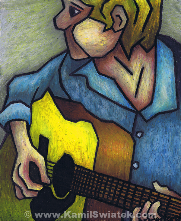 """Guitar Man"", Oil Pastel on Paper, 14"" x 17"""