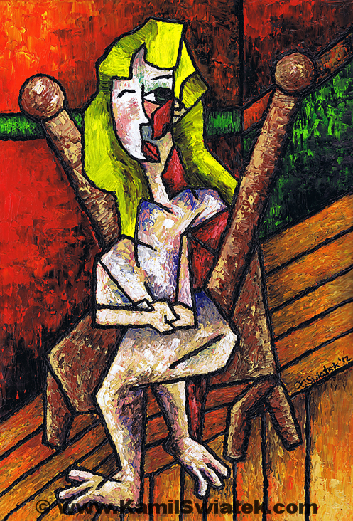 Woman on Wooden Chair by Kamil Swiatek