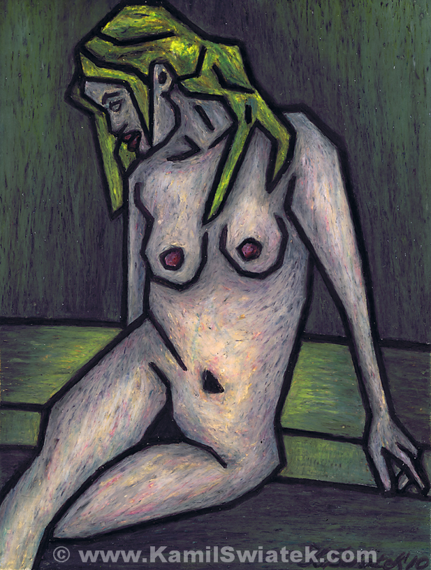 """Nude I"" (2010), Oil Pastel on Paper, 9"" x 12"""