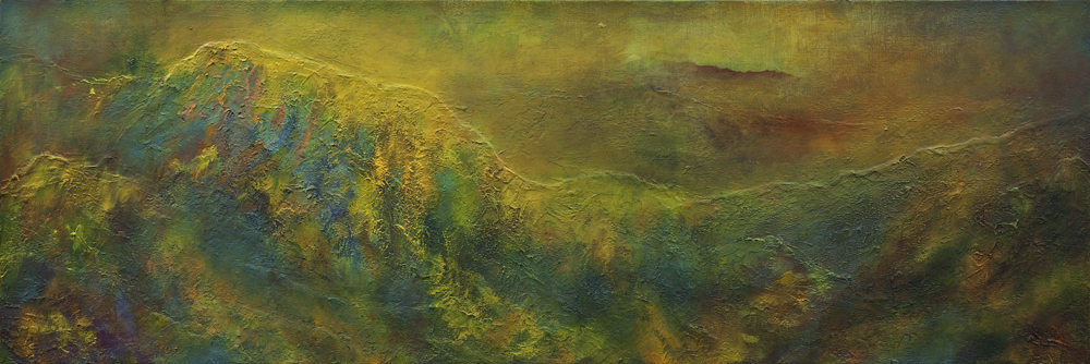 "Wild Downpour Rust (2015-2018), Oil and Mixed Media on Canvas, 12"" x 36"""