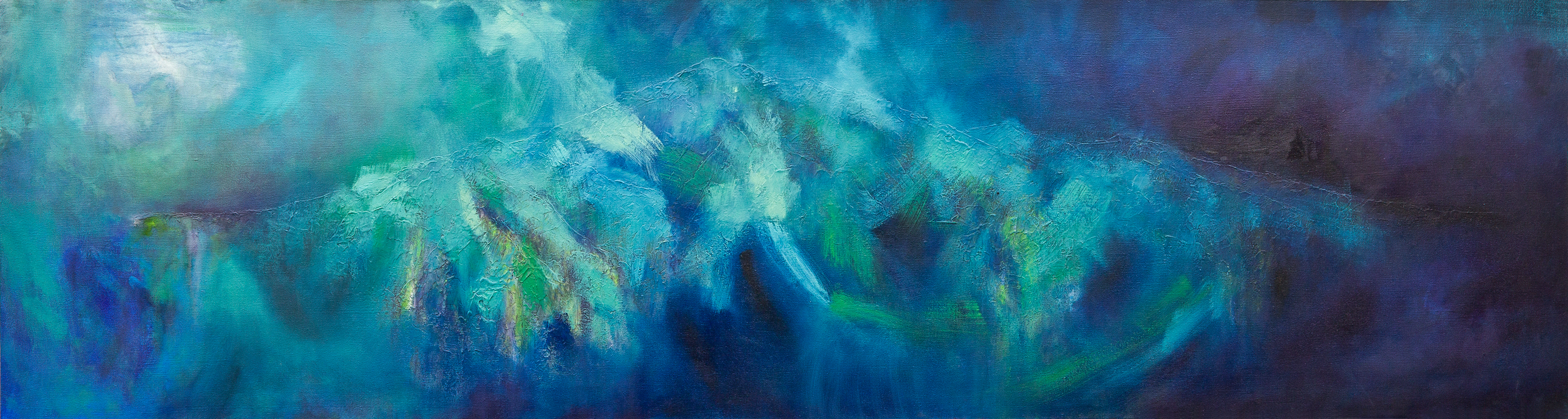 "Submerged: Drifting Ephemera (2017), Media: Oil, Acrylic and Mixed Media on Canvas, 24"" x 90"""