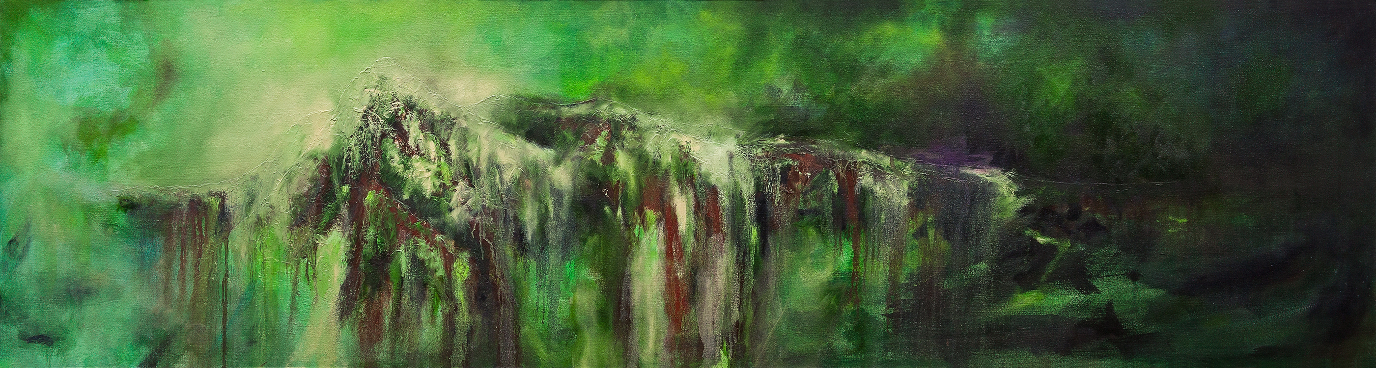 "Awakened Chelonioidea (2017), Oil, Acrylic and Mixed Media on Canvas, 24"" x 90"""