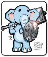 Level 2 Elephant Warrior Sticker, Level Up!, Pen & Ink + Photoshop, 2014