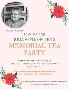 KAC | Memorial Tea Party for Julia Appley-Mitra May 4th