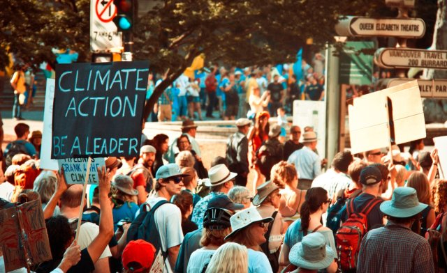 """""""Climate Action: Be a leader"""" sign at Climate Strike Vancouver"""