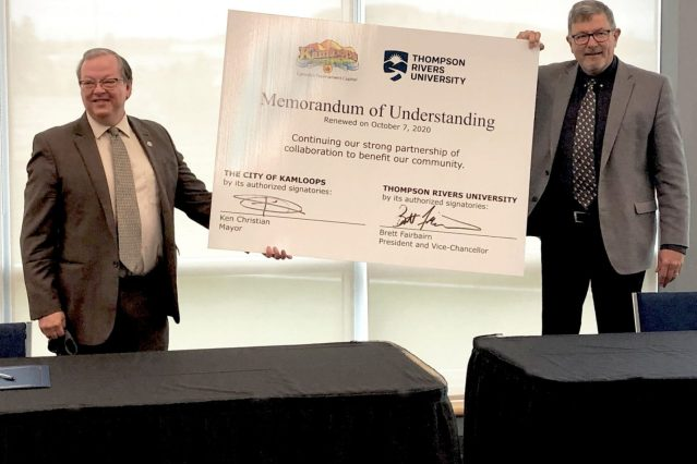 TRU President Brett Fairbairn and Kamloops Mayor Ken Christian