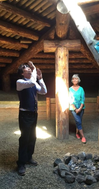 Daniel, our guide, tells us about life in the winter pit house.