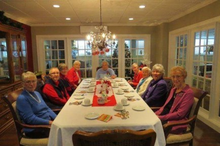 The Prayer Shawl Ministry group enjoyed a special Christmas lunch at The Shores. (missing is the photographer, Lois!).