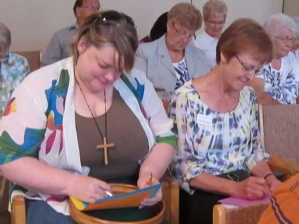 Kathy (who will be attending General Council in Cornerbrook, Newfoundland) and Carole express their prayers.