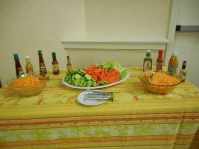 Hot Sauce, cheese and veggie station.