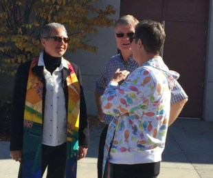 Rev. Ivy (Thompson Okanagan Conference Minister), Bruce and Rev. LeAnn (Mount Paul United Church) visit in the sun.