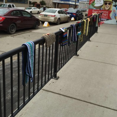 Scarves are hung on the banisters around the church.