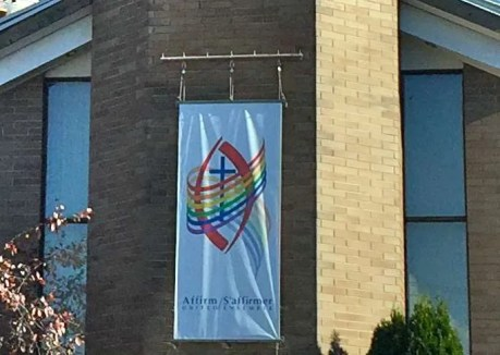 Our new banner outside.