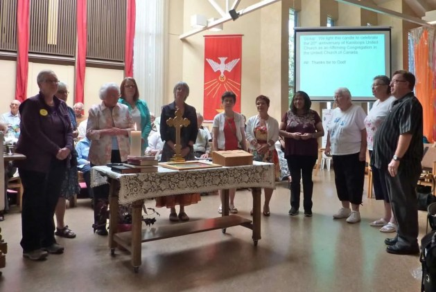 We light the candle to celebrate the 20th Anniversary of KUC as an Affirming congregation….Thanks be to God. Bev Knowles and Cheryl Lyall participated on the committee back in 1996. Congregational supporters Marnie, Donna, Bev and Cheryl with Diane between, Barb, Marcia, Sandra, Judy, Marie and Alan.
