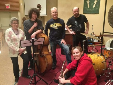 Jazz musicians at rehearsal - Jeanne, Alex, Wilf, Rob and Syd.