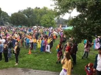 The crowd assembles