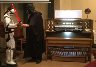 "Star Wars: Imperial March, Princess Leia's Theme and Star Wars theme played on the Allen ""Symphonic Theatre"" pipe organ sound library by Gail Ovington."