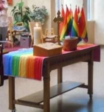 New rainbow communion table runner.