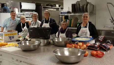 The food prep team in the kitchen