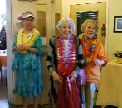 A little out of focus but Donna just looks sooo happy in her grass skirt, along with Sue and Wendy
