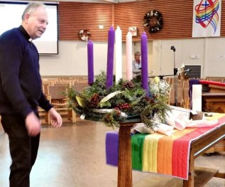Rev. Michael preparing for Advent 1: AIDS Sunday
