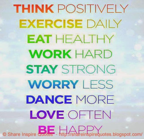 Think Positive Eat Healthy Exercise etc