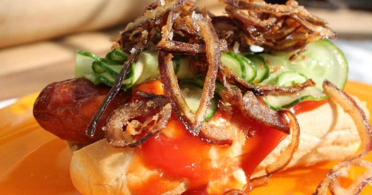 Hotdogs ……..med ristede løg