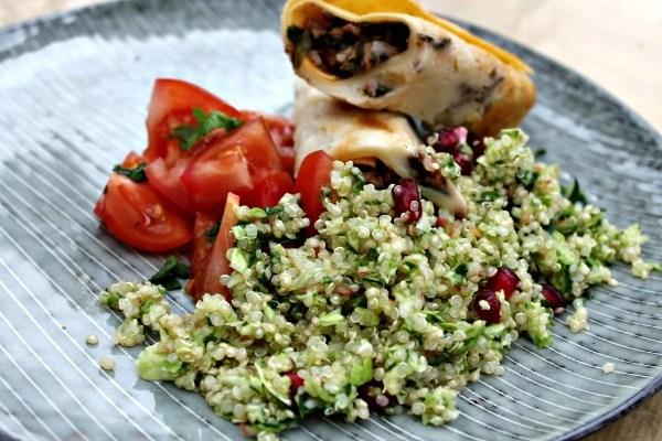 Cannelloni med oksekød, spinat samt tomatsovs – Quinoa salat