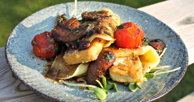 Lasagne med tofu, tomat og portobellosvampe