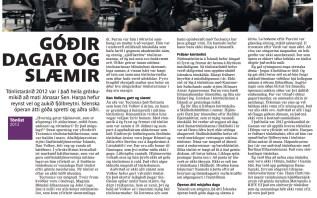 Blaðagrein - Tónlist ársins 2012 - Jónas Sen [Fréttablaðið] 27.12.2012