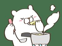料理をするクマ
