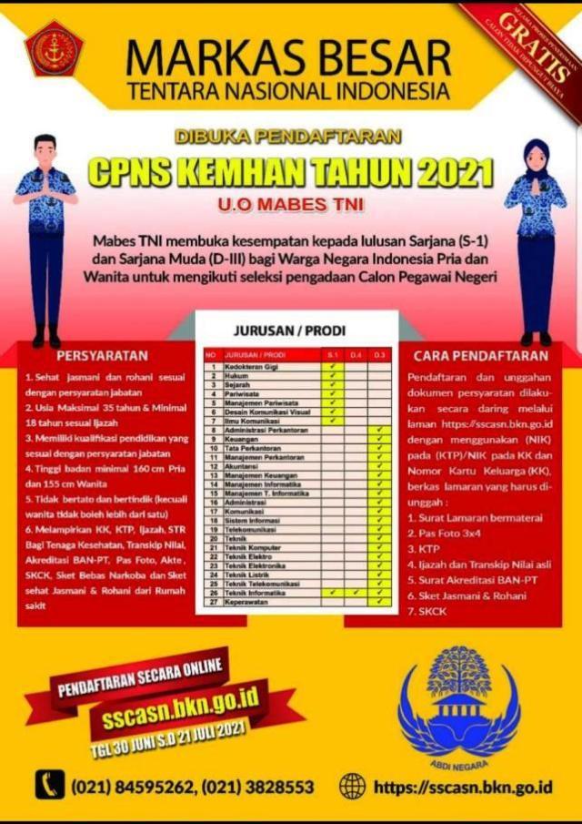 Mabes TNI Buka Lowongan CPNS