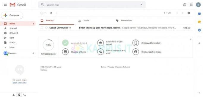 Membuat Gmail melalui Browser Desktop