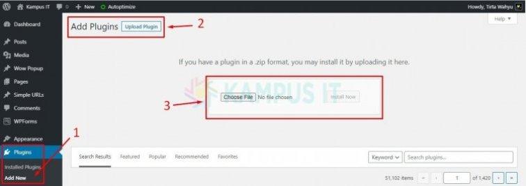 Install Plugin WP - Metode 2 via Fitur Upload
