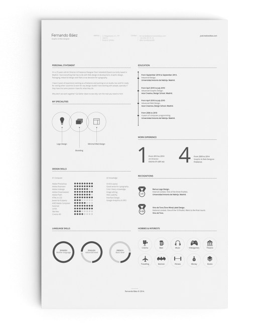 Template CV clean minimalist. (Download gratis)
