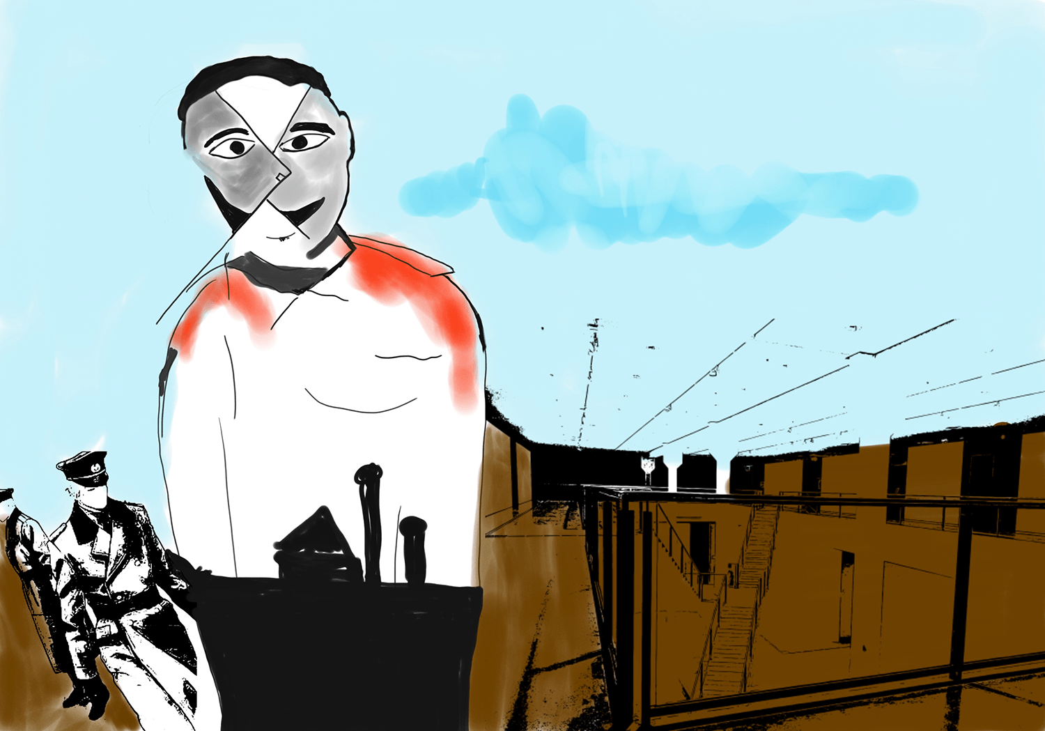 Pale blue sky, brown buildings, Nazi silhouettes in background, foreground figure in white shirt with the shadow of a death camp inside the figure