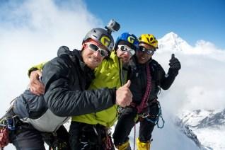 Francesco, Davide e Cesar in vetta alla Cima Nord del South Simvo