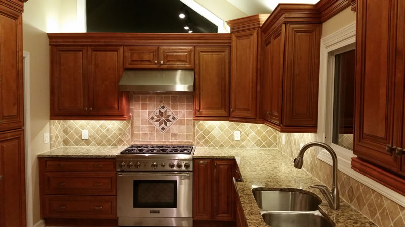 assembled kitchen cabinets refrigerator small charleston chestnut - and bath solutions