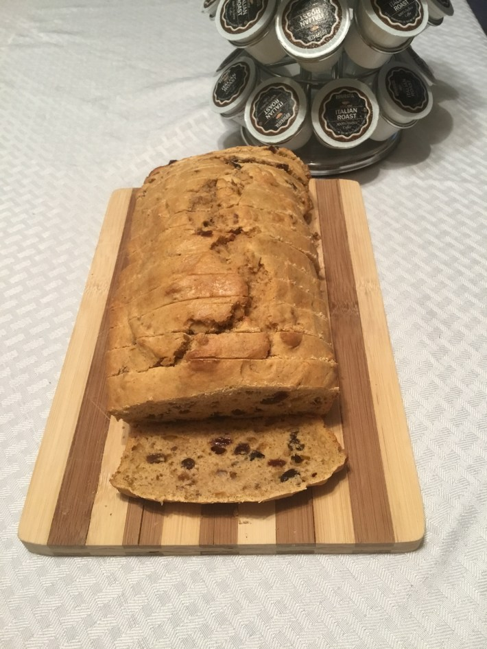 Sweet Potato Bread with pecans and raisins