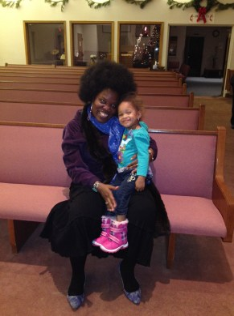 Me & my littlest Stampede fan, Kira, after singing Negro spirituals etc in the Circle