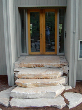 Large stone entry stairs