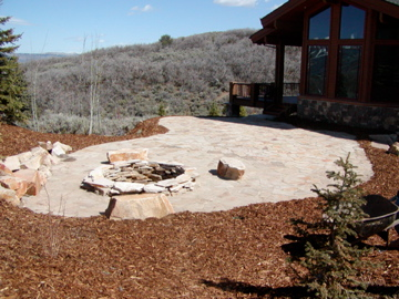 Stone patio and firepit
