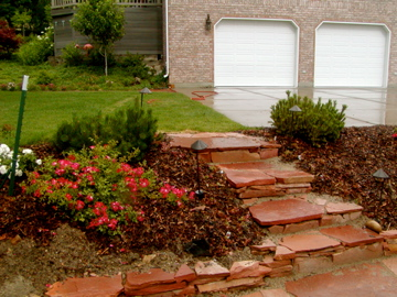 Stone steps and garden