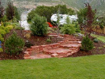 Stone stairs through garden