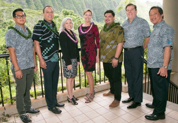 (from left) Daniel Ikaika Ito, Frank Among, Catherine Sato, Cynthia Manley, Thomas Obungen, Steve Petranik, and David Sur.