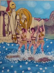 Swimsuit-clad workers at the Atlantis Marine Park in its 1980s heyday.