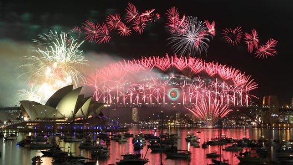 New Year's Eve fireworks over Sydney Harbor.