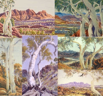 Ghost gum trees depicted by Albert Namatjira