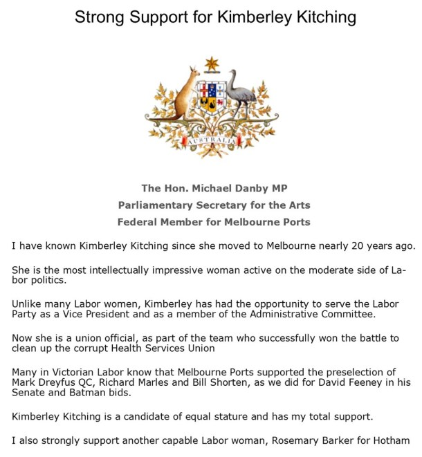 Michael Danby Kimberley Kitching letter