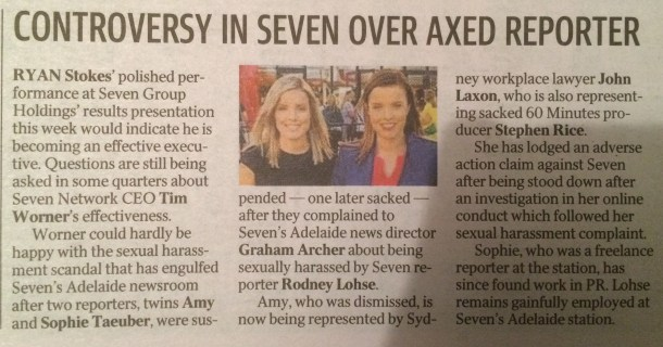 Amy Taeuber news Syd Tele 6 August 2016